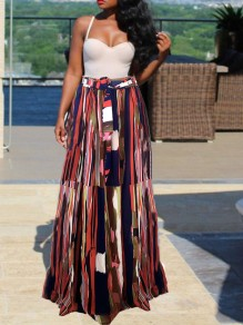 Red Colorful Belt Pleated Chiffon Bohemian Beachwear Party Long Skirt