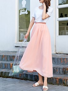 Pink Pleated High Waisted Layers Of Grenadine Fluffy Puffy Tulle Elegant Skirt