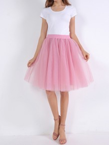 Pink Layers Of Grenadine Fluffy Puffy Tulle Chiffon Homecoming Party Short Princess Skirt