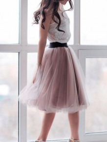 Lotus Pink Patchwork Pleated Grenadine High Waisted Party Tutu Skirt