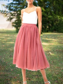 Pink Grenadine Pleated High Waisted Tulle Tutu Homecoming Party Bridesmaid Cute Elegant Midi Skirt