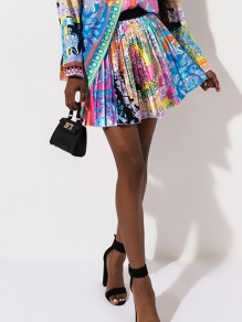 Multicolor Floral Print Africa Style Pleated High Waisted A-Line Casual Mini Skate Skirt