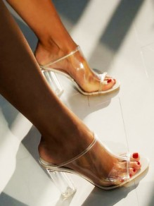 White Round Toe Casual High-Heeled Sandals