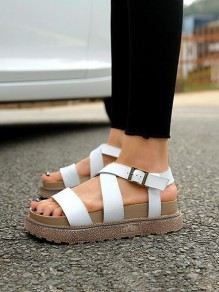 White Round Toe Cut Out Fashion Heavy-Soled Sandals