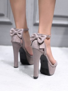 Apricot Round Toe Chunky Bow Fashion High-Heeled Sandals