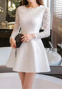 White Lace Draped Round Neck Sleeve Long Fashion Mini Dress