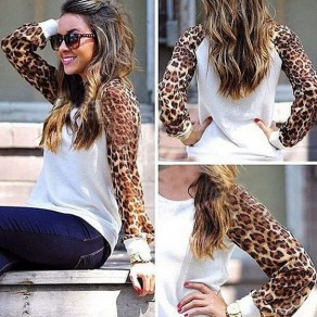 White Leopard Patchwork Print Fashion Chiffon Blouse