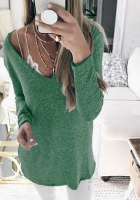 Green Plunging Neckline Long Sleeve Casual Cotton T-Shirt
