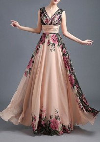 Champagne Floral Draped Plunging Neckline Elegant Maxi Dress