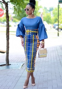 Sapphire Blue Pockets Tribal Print Bodycon High Waisted Going out Skirt