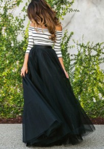 Black Plain Grenadine Elastic Waist Fashion Skirt