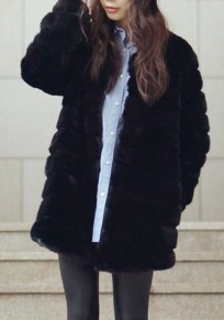 Black Draped Faux Fur Fashion Long Sleeve Thick Coat