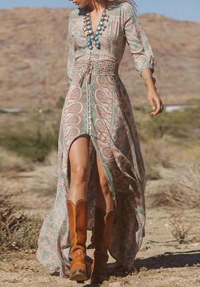 Maxi abito telai stampa floreale spacco anteriore con scollo A V maniche A tre elastici trimestre alto-basso multicolore