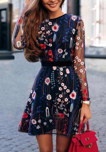 Mini abito ricamo granata floreale manica lunga stile messicano A vita alta blu