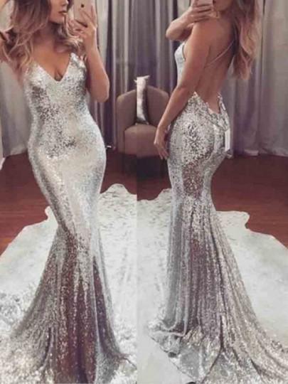Maxi dress elegante v-colloera con paillettes E spallina con v-collo argento scuro