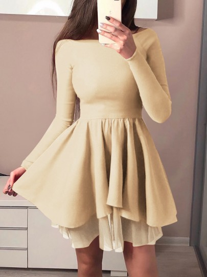 Apricot Patchwork Grenadine Draped Off Shoulder Long Sleeve Tutu Mini Dress