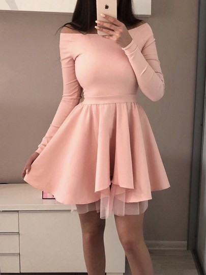 Pink Patchwork Grenadine Draped Off Shoulder Long Sleeve Tutu Mini Dress