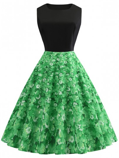 Green Floral Print Draped Sleeveless Party Midi Dress