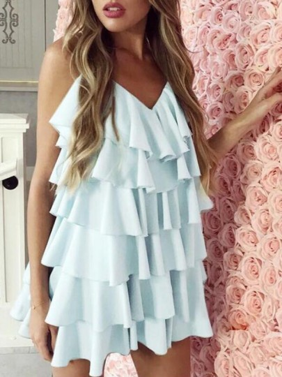Light Blue Cascading Ruffle Spaghetti Strap Backless Cupcake Homecoming Banquet Holiday Party Mini Dress
