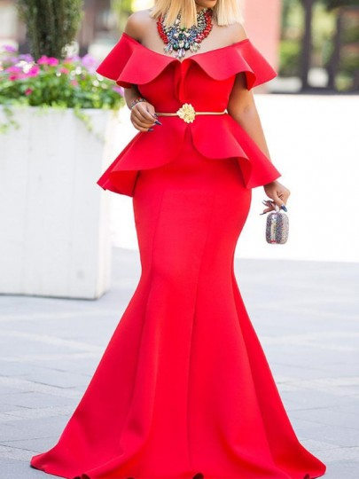 Red Off Shoulder Cascading Ruffle Bodycon Mermaid Elegant Prom Evening Party Maxi Dress