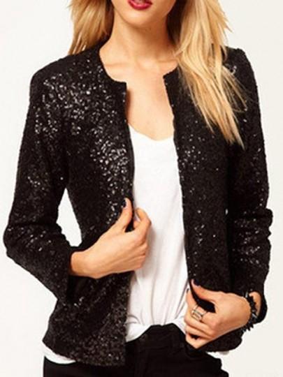 Abbigliamento esterno paillettes drappeggiato manica lunga moda nero