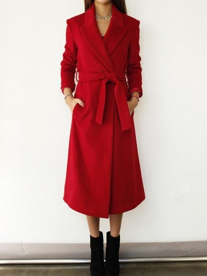 Red Pockets Sashes Tailored Collar Long Sleeve Elegant Coat