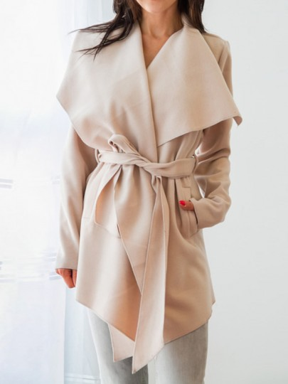 Khaki Pockets Sashes Irregular Turndown Collar Long Sleeve Casual Coat