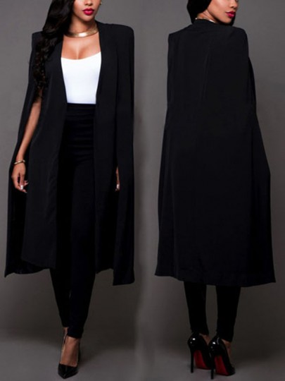 Blazer manica lunga cotone di lino casuale nero