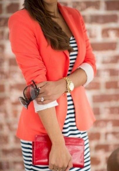 Blazer bottoni colletto sartoriale moda rosso anguria