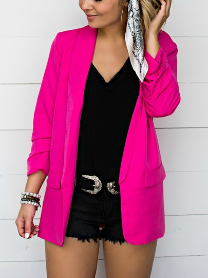 Rose Carmine Pockets Turndown Collar Long Sleeve Fashion Suit
