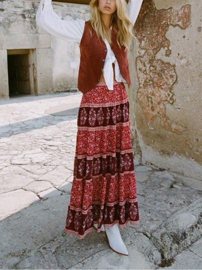 Red Floral Print Pleated High Waisted Bohemian Casual Flowy National Long Wisteria Skirt