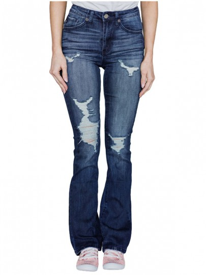 Blue Distressed Ripped Buttons Pockets Denim High Waisted Bell Bottomed Flares Long Jean