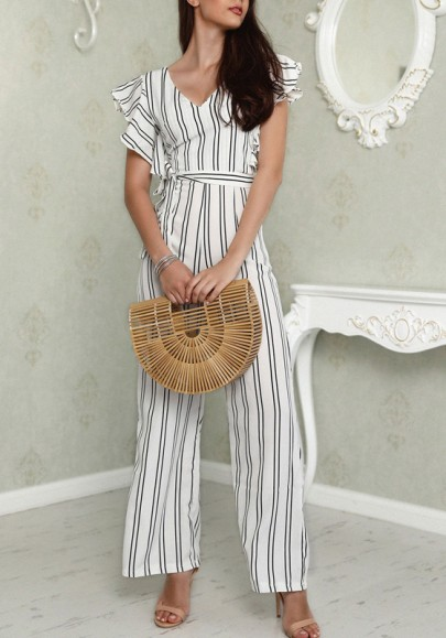 White Striped Ruffle Sashes Cut Out High Waisted Elegant Party Long Jumpsuit