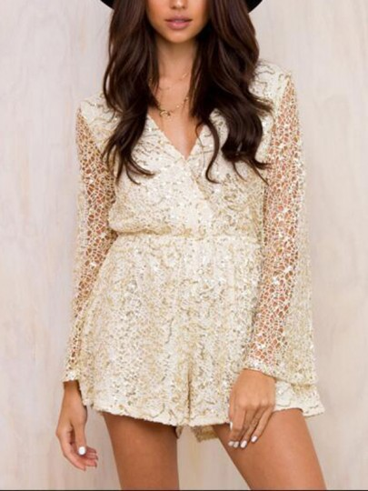 Beige Patchwork Lace Sequin Cut Out Plunging Neckline Long Sleeve Fashion Short Jumpsuit
