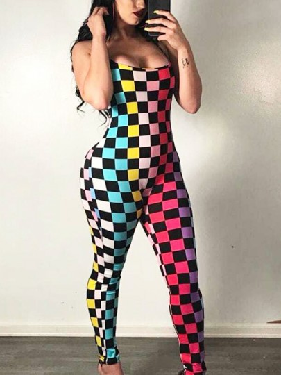 Red Rainbow Plaid Spaghetti Strap Bodycon Party Long Jumpsuit