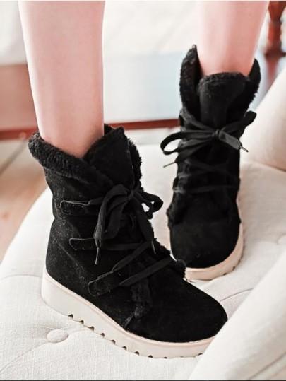 Black Round Toe Fashion Ankle Boots