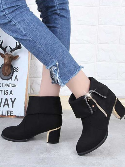 Black Round Toe Zipper Chunky Fashion Boots