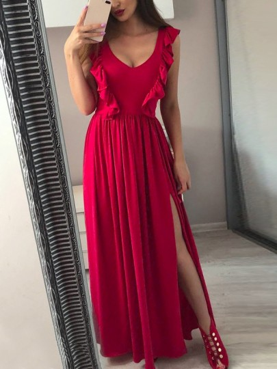 Wine Red Patchwork Ruffle Slit V-neck Party festival Maxi Dress