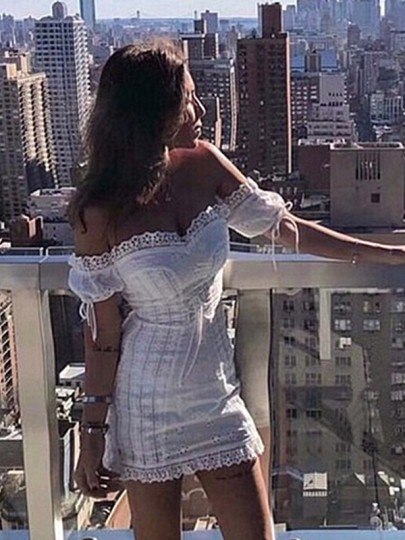 White Patchwork Lace Off Shoulder Straps Puff Sleeves Going out Bodycon Mini Dress