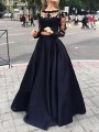 Black Patchwork Lace Pleated 2-in-1 Round Neck Long Sleeve Wedding Gowns Maxi Dress