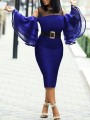 Blue Patchwork Grenadine Ruffle Cut Out Flare Sleeve Bodycon Banquet Party Midi Dress