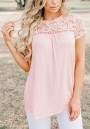 Pink Patchwork Lace Round Neck Oversize Casual T-Shirt