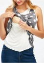 Grey Polka Dot Print Maternity and Lactant Women Casual Going out T-Shirt