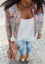 Multicolor Floral Zipper Fashion Loose Cotton Blend Coat