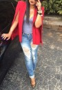 Red Irregular Cape Shawl Lapel Sleeveless Fashion Blazer