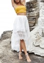 White Lace Swallowtail Draped High-Low Flowy High Waisted Bohemian Party Skirt
