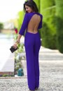 Purple Plain Fashion Elastic Waist Long Jumpsuit