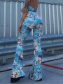 Light Blue Angel Print Party High Waisted Bell Bottomed Flares Long Pant