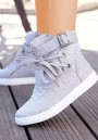 Grey Round Toe Flat Cross Strap Buckle Casual Boots