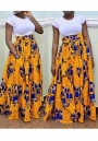 Yellow Pleated Tribal Print High Waisted Indonesian Style Tutu Vegas Bohemian Maxi Skirt